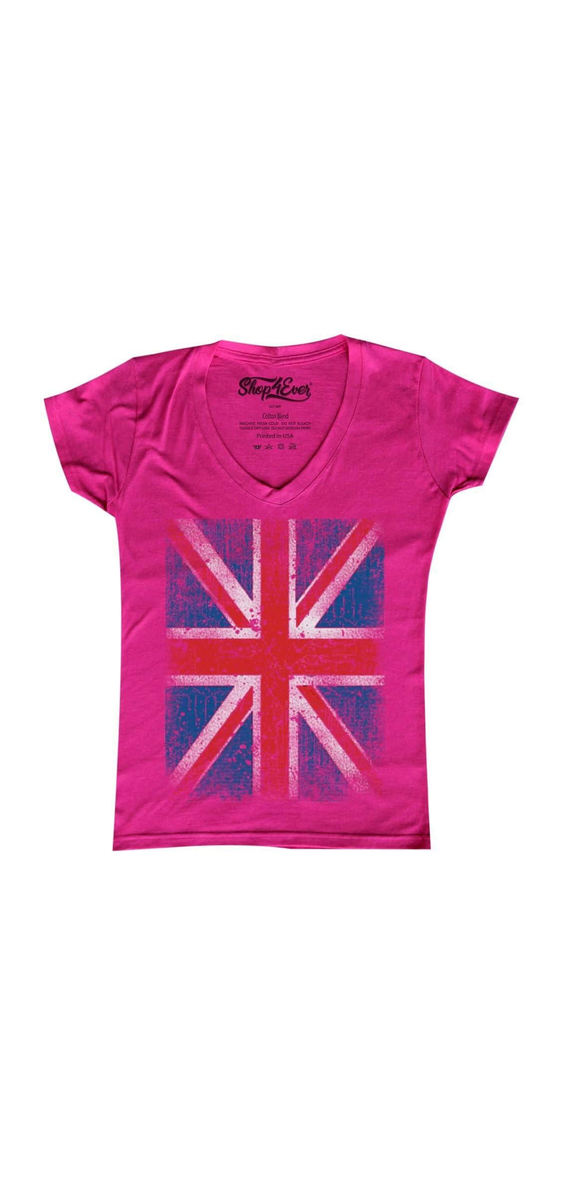 Vintage Union Jack British Flag Women's V-neck T-shirt