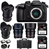 Panasonic Lumix GH5 4K Mirrorless Camera (Body) + Rokinon 4-Lens Cine Kit (24, 35, 50, 85mm T1.5) 64GB UHSII