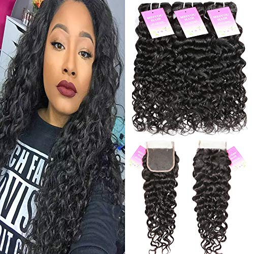 Brazilian Water Wave Bundles with Closure Unprocessed Virgin Human Hair Bundles with Closure 4x4 Free Part Curly Hair Wet and Wavy Bundles with Closure (10 12 14 with 10, Natural Color) ()