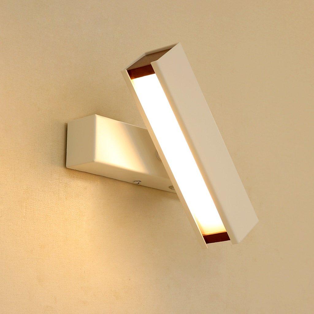&Wohnzimmer Flur Schlafzimmer Wandleuchte Wandleuchte-Moderne minimalistische Nachttischlampe kann LED Schlafzimmer kreative Lampe Wandleuchte Warm Gang Wandleuchte drehen&Kabellose Wandleuchte