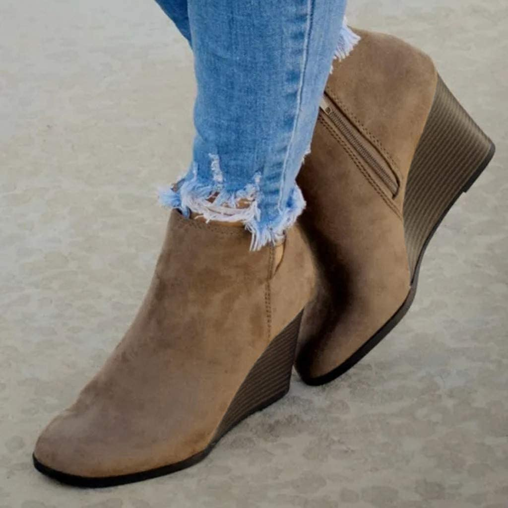 Womens Wedges Ankle Booties Retro V Cutout Comfy Short Boots Flock Leather Zip Closure Stacked Chunky Block Heels Shoes