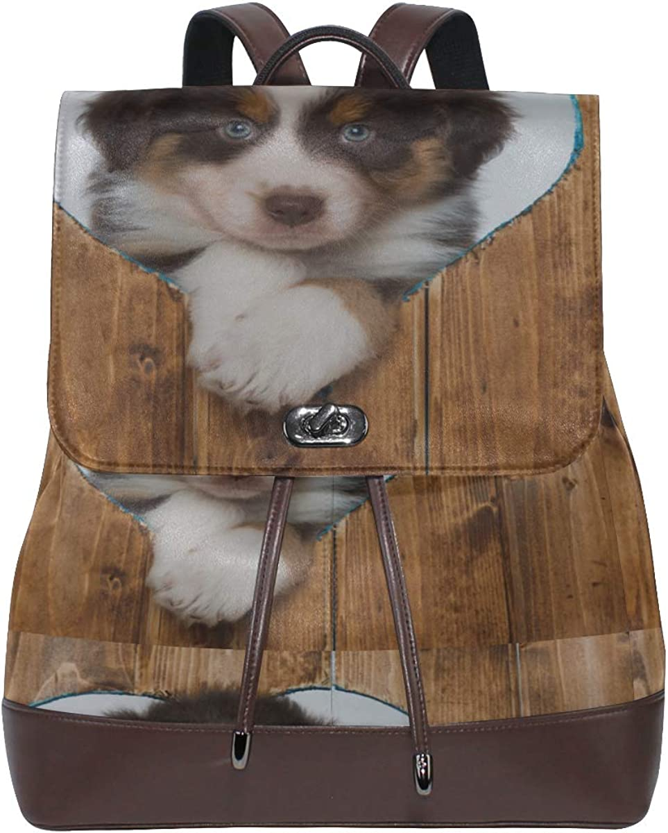 Cute Chihuahua Looking Into A Hole Fashion Shoulder Bag Women Leather Backpack Drawstring Waterproof Women Fashion Bags Leather Travel Backpack For Women