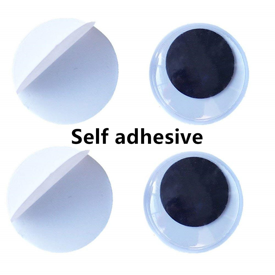 100 Pieces 20mm Black Wiggle Googly Eyes with Self-Adhesive