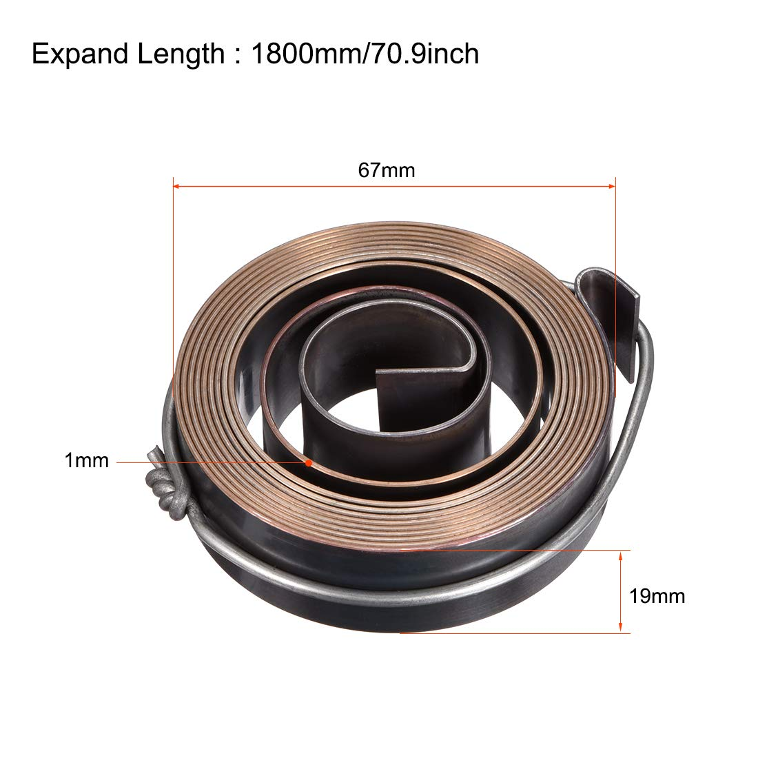 67 x 19 x 1mm ODxWxT Quill Spring Feed Return Coil Spring Assembly sourcing map Drill Press Return Spring 1800mm Long