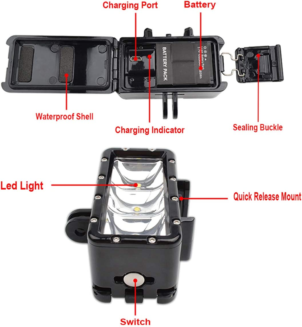 iEago RC Waterproof Flash Diving Light Underwater High Power LED Fill Light Chargeable Battery for DJI OSMO Action//GoPro Hero 6//5//4//3//2 SJCAM//Action Cameras Accessories