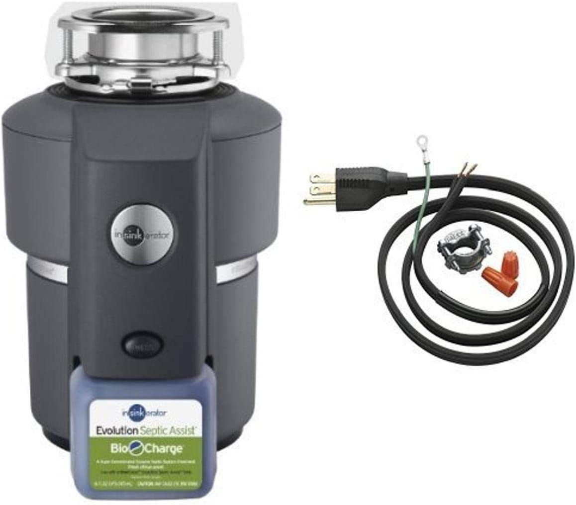 InSinkErator Evolution Septic Assist 3/4 HP Household Garbage Disposer and Power Cord Kit Bundle