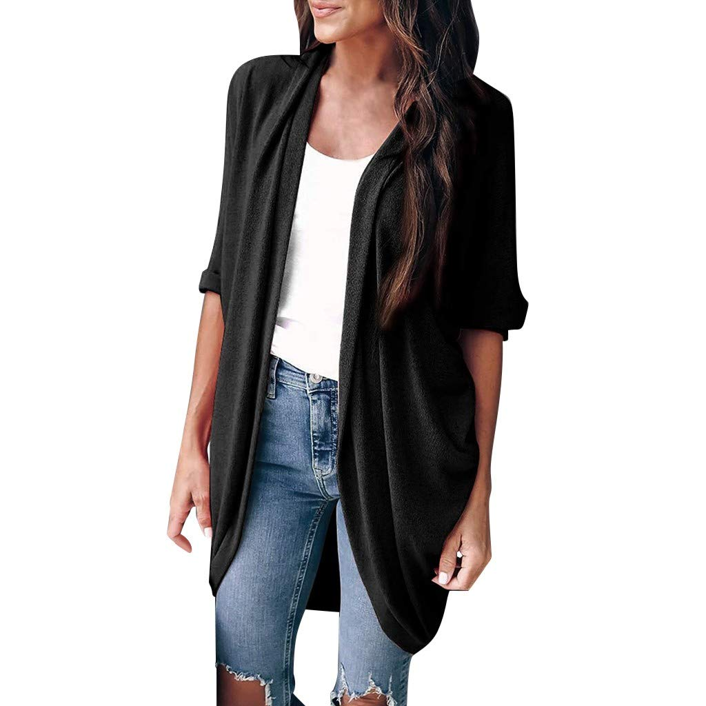 HAPPIShare Long Cardigan Sweaters for Women, Women's Waterfall Asymmetric Long Open Front Drape Black by HAPPIShare Coats