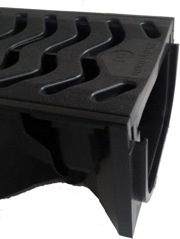 3 canales de pl/ástico de drenaje poco profundos de color negro 1 m de drenaje de polietileno