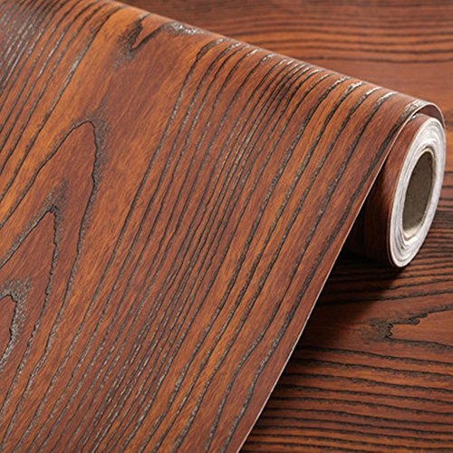 Emoyi Self-adhesive Removable Wood Grain Faux Finish Textured Vinyl Wrap Contact Paper Film for Home Office Furniture 12''x79'' (Brown) - 12' Film Wrap