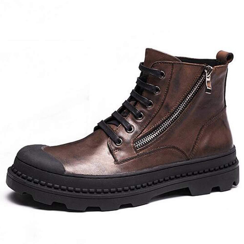 HWG-GAOYZ Plus Samt Halten Warme Wüste Werkzeug Baumwolle Militär Leder Stiefel Herbst Winter Rutschfest,braun-40