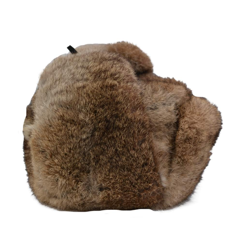 8732182dfe5 ... Yosang Genuine Rabbit fur Russian Ushanka Winter Hat Trapper Bomber  w Ear Flaps ...