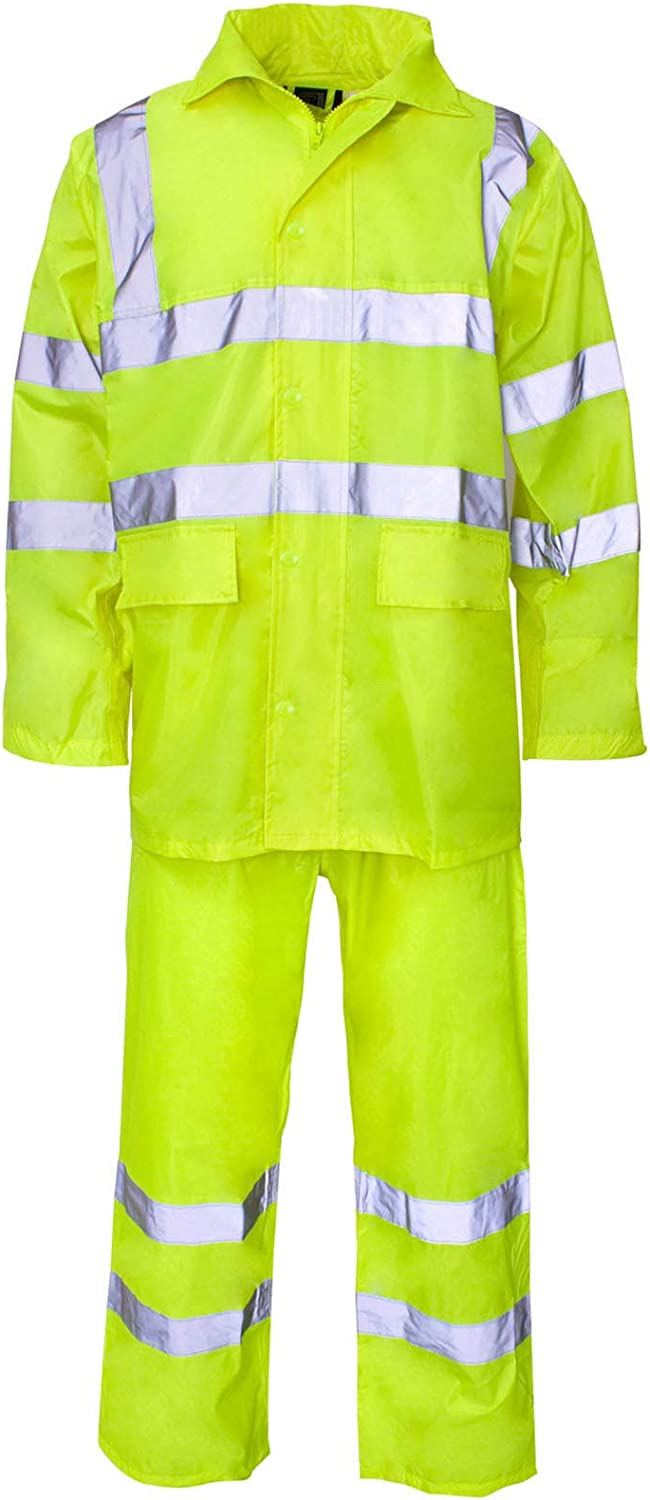 Hi Vis Viz Rainsuit 2 Piece Set High Visibility Hooded Puddle Rain Suit Jacket Trousers Waterproof PVC Workwear Rain Wear