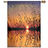 HUANGLING Lake Sunset With Long Reeds Romantic Botanical Ombre Like Scenery Photo Image Home Flag Garden Flag Demonstrations Flag Family Party Flag Match Flag 27''x37''