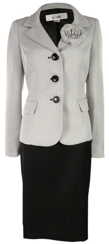 Le Suit Women's Water Lilies Woven Skirt Suit (6, White/Black)