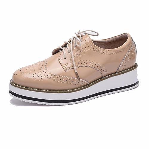 Moonwalker Zapatos con Cordones de Cuero Mujer Oxford Cuña (EUR 38 ,Rojo)