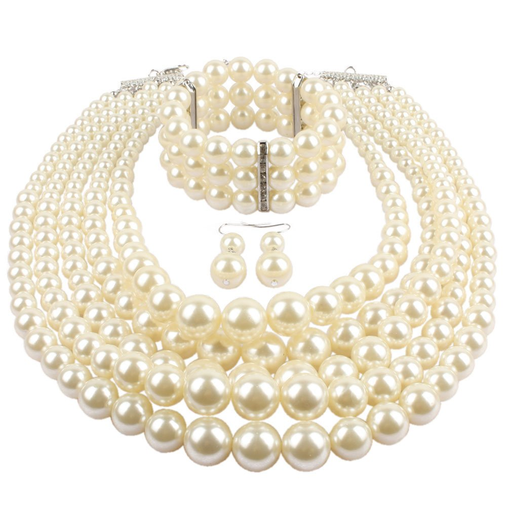 KOSMOS-LI Multi Layer Pearl Strand Necklace Bracelet And Earring Imitate Ivory Pearl Jewelry Set