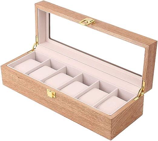 Watch storage box Caja de Reloj para 6 Relojes, Caja de Almacenamiento de Joyas con Cierre de Seguridad de Tapa Superior Transparente y cojín de Reloj Desmontable: Amazon.es: Hogar