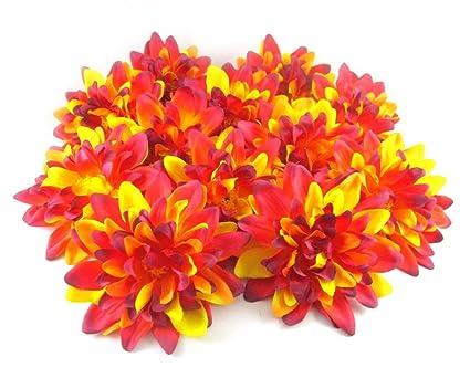 (12) amarillo rojo Dahlia flor de seda cabezas – 10,16 cm –