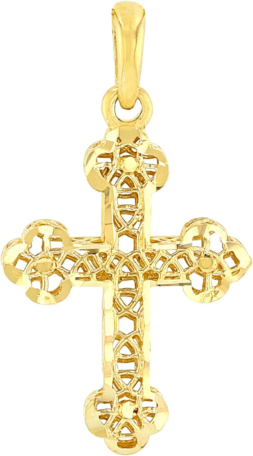 14K White Gold Filigree Eastern Orthodox Cross Charm Pendant Necklace