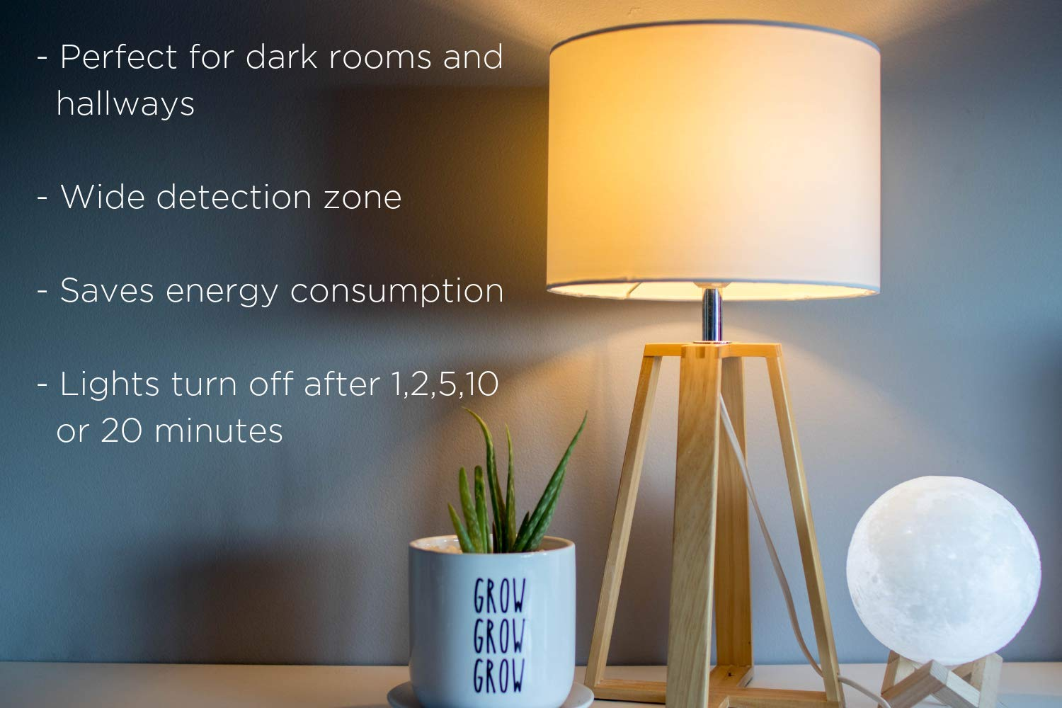 Motion Activated Light Control – Outlet Plug-in Device Turns On Your Indoor Lamp Lights When Movement Is Detected – LED Compatible, Ideal For Dark Rooms, Hallways – 25ft Detection, 6 Foot Cord by WESTEK (Image #4)