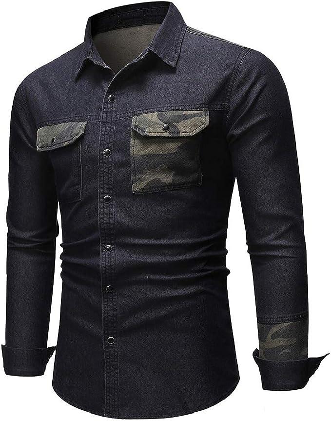 cheelot 男性デニムパッチワークレギュラーフィットポケットマルチカムシャツで洗浄