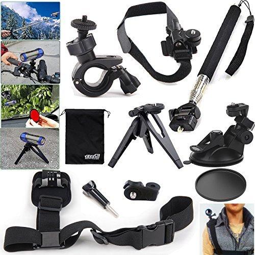 EEEKit 10in1 Outdoor Sport Accessory Kit for Ion Air Pro 2/3 Wifi HD,Handlebar/Helmet/Handheld Monopod/Tripod/Car Sunction Cup/Shoulder Strap Mount