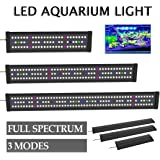 Bigbanana Full Spectrum 129 LED Aquarium Light Lightweight Fish Tank Light Fixture with Extendable Brackets Suitable for Aquatic Reef Coral Plants and Fish Keeping