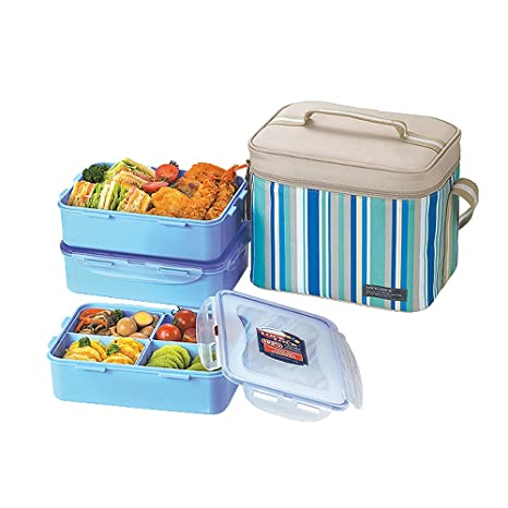 0f56881a76d5 Lock & Lock Rectangular Lunch Box Set with BPA Free Food Containers with  Leak Proof Locking Lids and Insulated Blue Rectangular Lunch Bag, 3-Piece