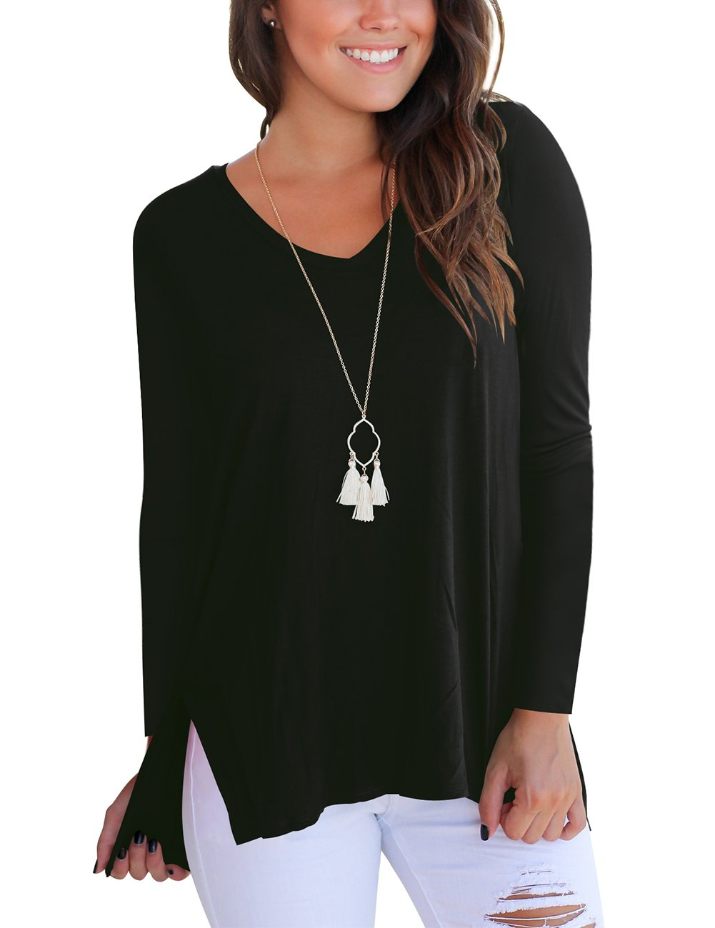 Tunic Tops for Women Long Sleeve Casual T Shirts Plus Size Basic Solid Tees Black XXL