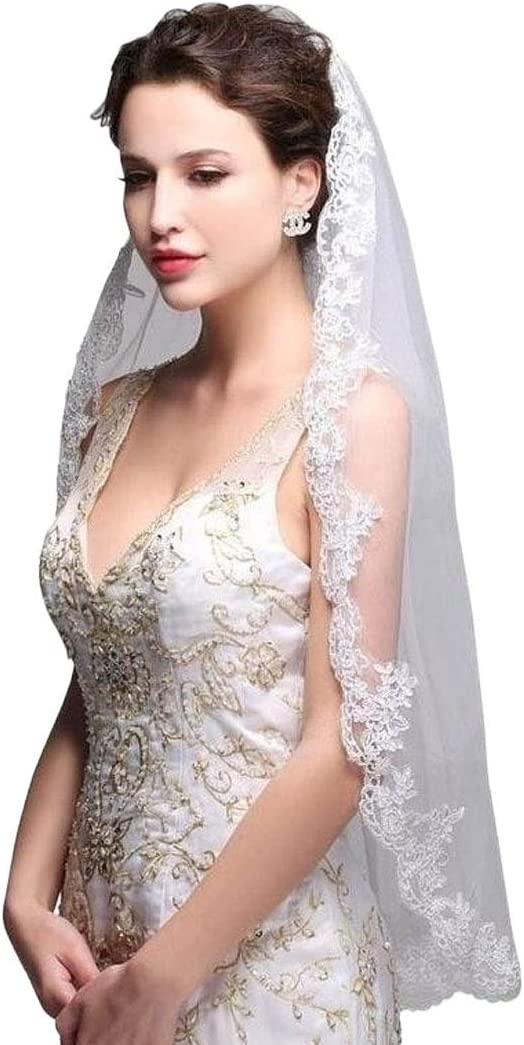 Brinote Voile de mari/ée en dentelle appliqu/ée avec peigne 1 /étage long en forme de hanche en cristal pour mari/ée blanc