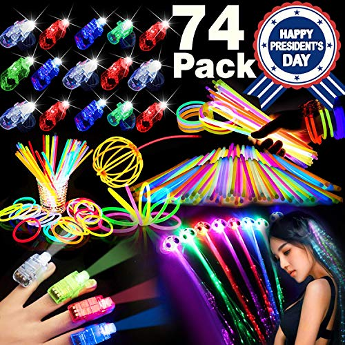 Bulk Light Up Toys - 74PCs Glow in the Dark LED Party Supplies Birthday 4th of July Party Favors for Kids Adults, Glow Sticks, Flashing Hair & LED Finger Lights -