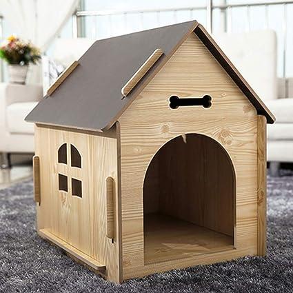 Casa de mascotas, casa para Perros pequeña y Mediana, casa de Madera, Interior