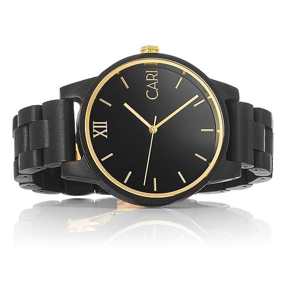 Cari Reloj para Hombre Movimiento Suizo con Correa de Madera de Ébano - Reloj Pulsera New York-081: Amazon.es: Relojes