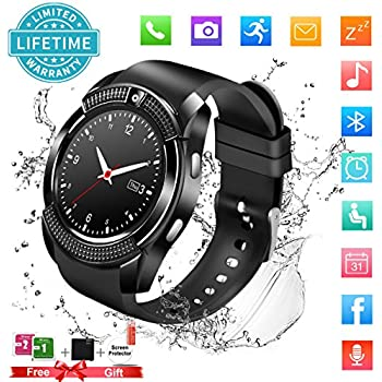 Smart Watch,Bluetooth Smartwatch Touch Screen Wrist Watch with Camera/SIM Card Slot,Waterproof Phone Smart Watch Sports Fitness Tracker for Android iPhone ...