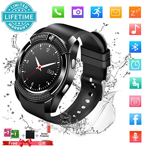 Smart Watch,Bluetooth Smartwatch Touch Screen Wrist Watch with Camera/SIM Card Slot,Waterproof Phone Smart Watch Sports Fitness Tracker for Android iPhone IOS Phones Samsung for Men Women Kids Black