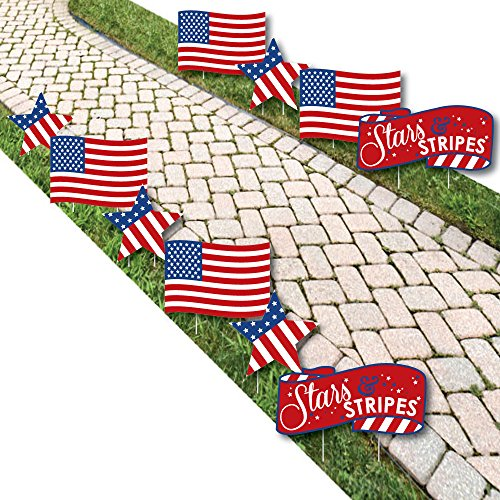 Stars and Stripes - American Flag and Star Lawn Decorations - Outdoor Labor Day USA Patriotic Yard Decorations - 10 Piece -