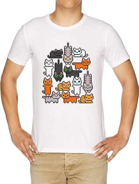 Súper Gatito Pila (Sólo Gatos) Camiseta Hombre Blanco: Amazon.es: Ropa y accesorios