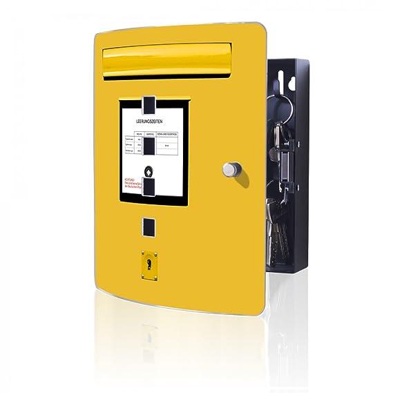 banjado Design Schl/üsselkasten aus Edelstahl 10 Haken f/ür Schl/üssel 24x21,5cm Motiv Briefkasten Gelb praktischer Magnetverschluss