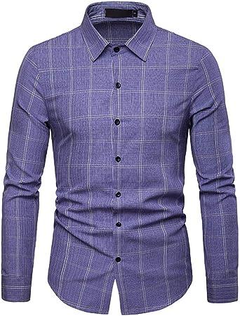 Weentop Camisas para Hombres Regular Fit Camisa de Manga Larga Casual para Hombre de Negocios, a Cuadros Modelos de Primavera y otoño (Color : Azul, tamaño : Metro): Amazon.es: Hogar