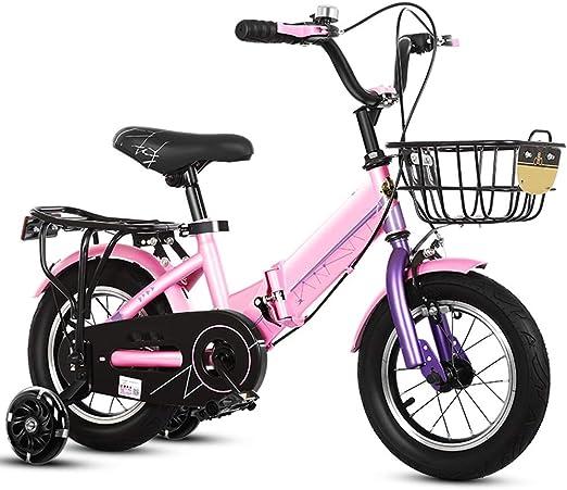 YUMEIGE Bicicletas Bicicletas Plegables 12 14 16 18 20 Pulgadas, Bicicleta para niña Ampliación del Marco Grueso, Bicicleta Infantil con Ruedas de Entrenamiento, 4 Colores de 2 a 9 años Disponible: Amazon.es: Jardín
