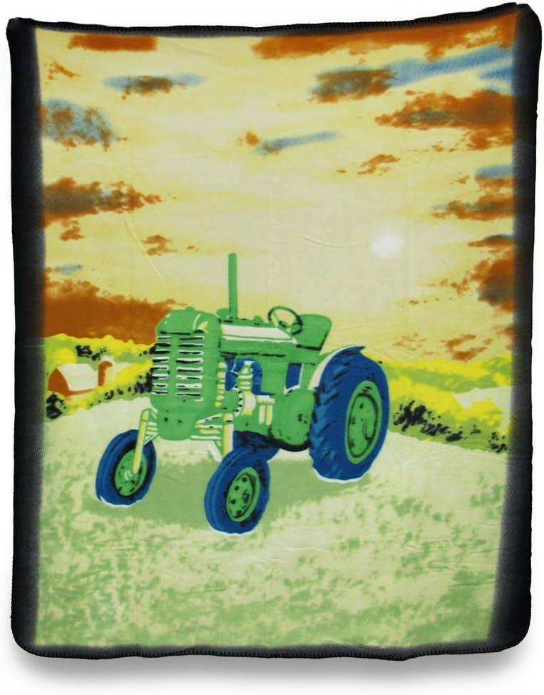 Country Farm Tractor Fleece Throw Blanket