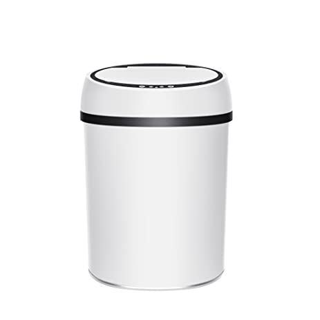 Geekinstyle Auto Open Trash Can Bathroom Garbage Bin With Lid Color White  Size 9L