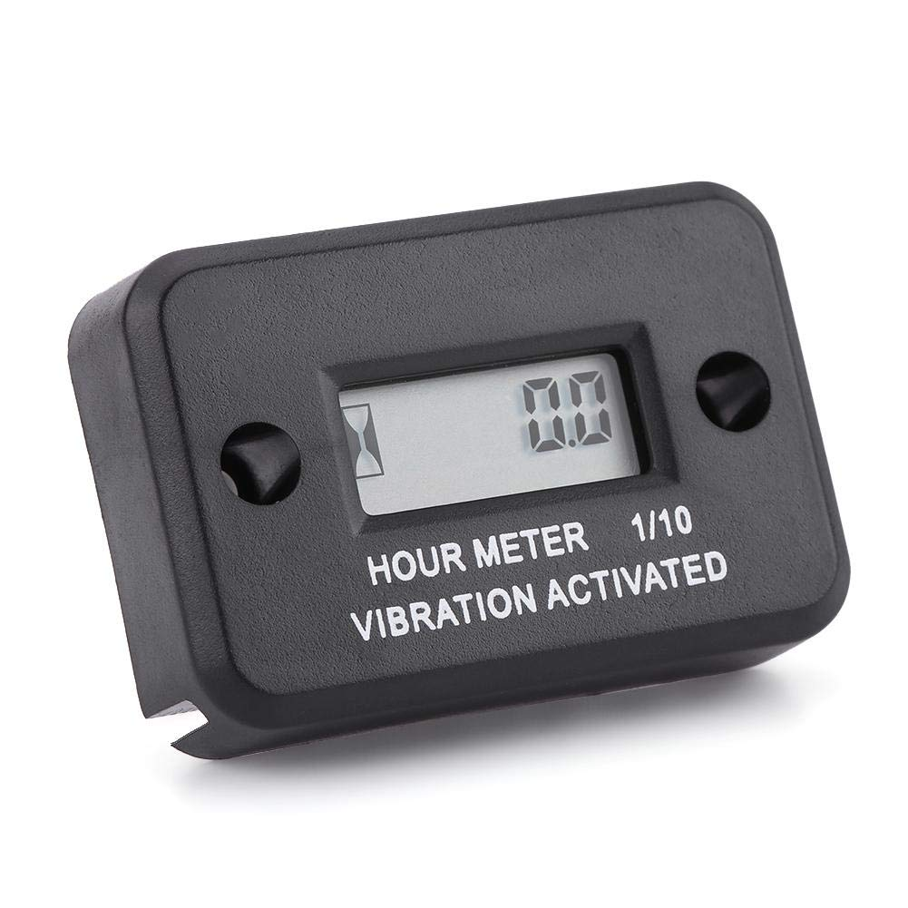 Digital Vibration Hour Meter Gauge for All Vibrating Machine Motorcycle ATV Boat Marine(Black) Keenso