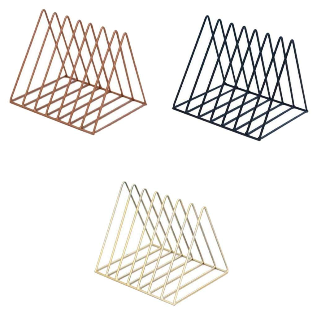 B Blesiya 3pcs Nordic Minimalist Iron Wire Desktop Bookshelf Holder for Home Office Newspaper Magazine Organizing