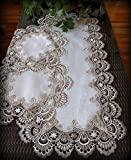 Galleria di Giovanni Table Runner Dresser Scarf Taupe Lace Antique White 36 Inch PLUS 2 Doilies 3 Piece Set Earth