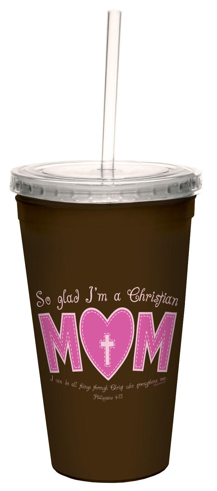 Tree-Free Greetings cc34337 So Glad Mom: Philippians 4:13 Artful Traveler Double-Walled Cool Cup with Reusable Straw, 16-Ounce