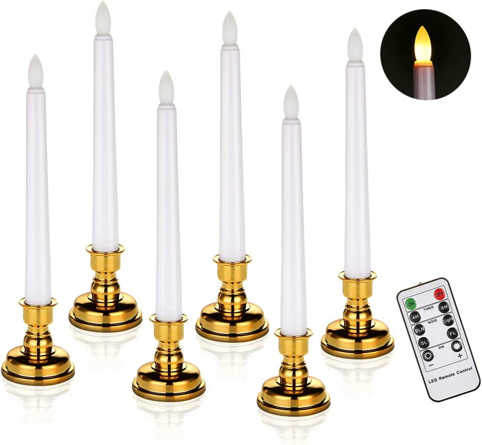 Window Candles Battery Operated Flameless Flickering Taper LED Candle Detachable Gold Base Remote Control Timer(6 Candles + Base)