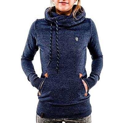 Favoridol Femme Sweats à Capuche à Manches Longues (L, Bleu foncé)