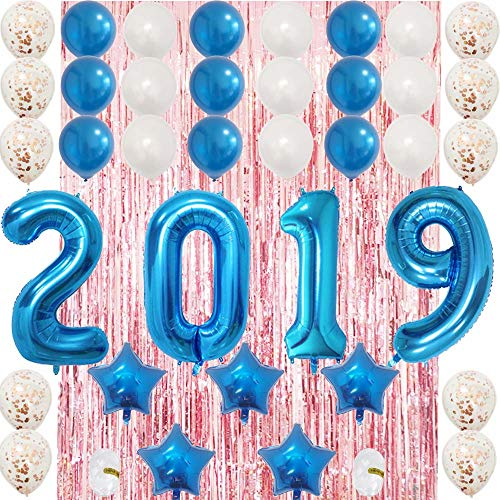 Big 2019 Balloons Blue Banner Set-Latex Confetti Balloons|Mylar Star| Foil Curtain for Graduation,Happy New Year's Eve,Home Office,Senior School,Anniversary Party Decoration Supplies-Helium Support