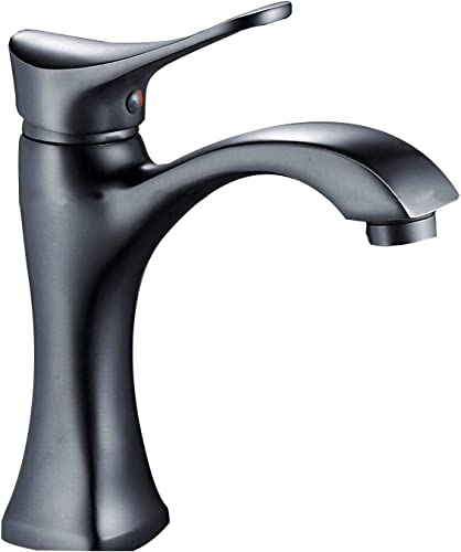 BWE Bathroom Sink Faucet with Supply Line Oil Rubbed Bronze Single Handle One Hole Lavatory Faucets Basin Mixer Tap